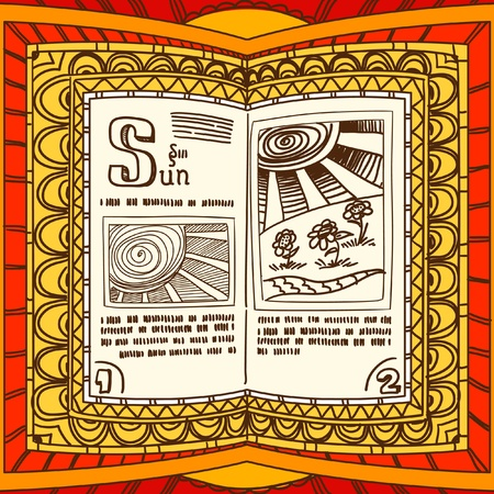 magic book:   Magic book with the spell of sun