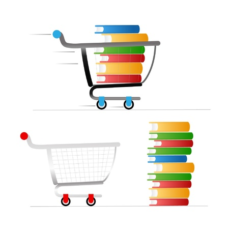 book bags: Shopping trolley with colour books