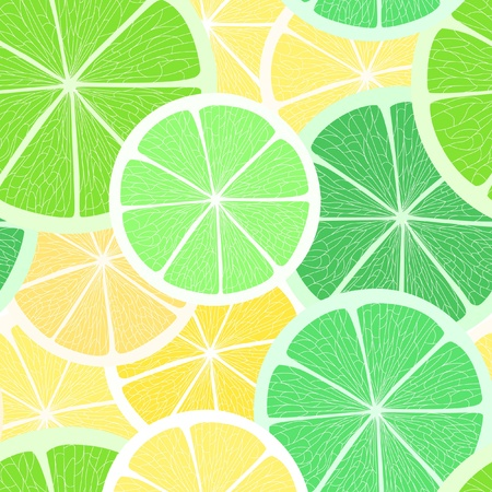 Citrus seamless background. Lime and lemon Vector