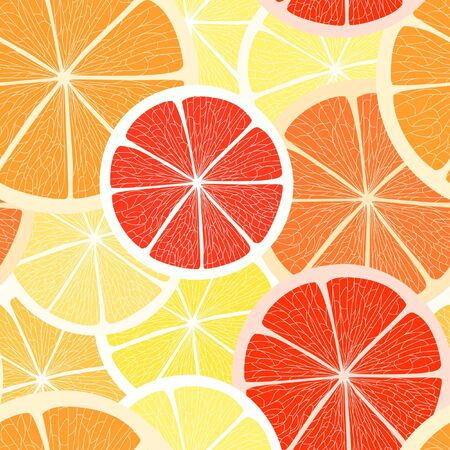 Citrus seamless background. Grapefruit, lemon  and orange Vector