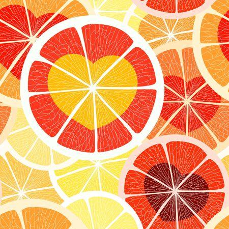 Citrus seamless background. Grapefruit and orange Vector