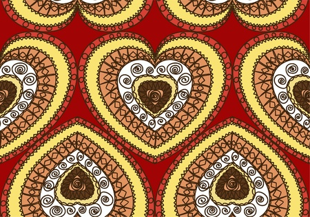 gamma: Seamless ornament of hearts. Hot gamma