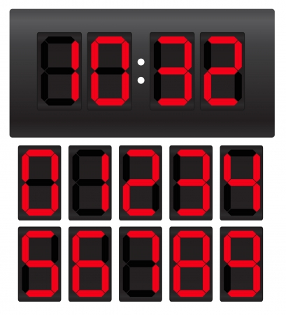 digital numbers: Digital clock Illustration