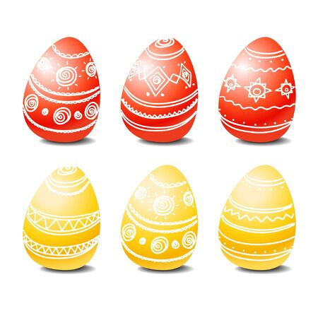 osterhase: Set of red and yellow easter eggs Illustration