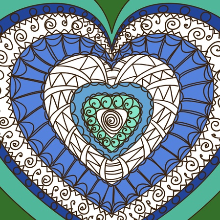 gamma: Ornament of hearts. Blue gamma