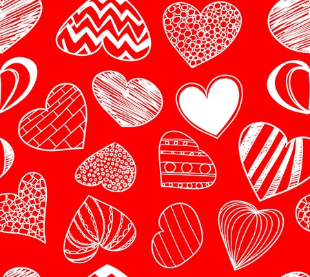 Seamless background of hearts on red  Vector