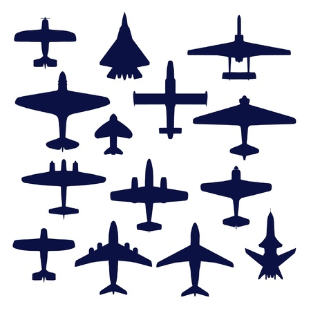 airplane cargo: Avia set. Transport and navy airplanes and jets Illustration