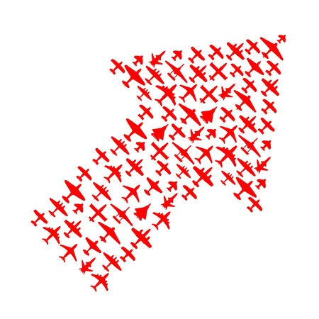 interceptor: Right-top arrow of vector airplanes Illustration