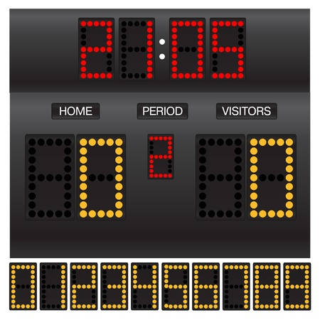 Match score board with timer Vector
