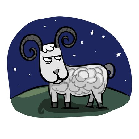 Hand drawn zodiac sign. Aries Vector