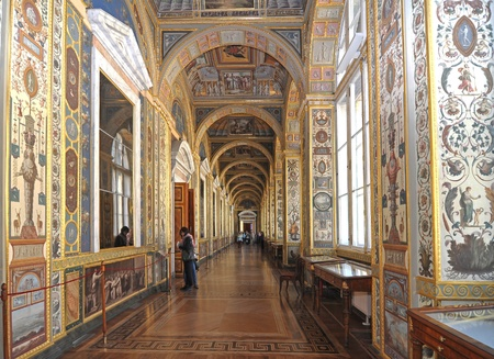 tourism in russia: Corridor in Winter Palace. Petersburg, Russia
