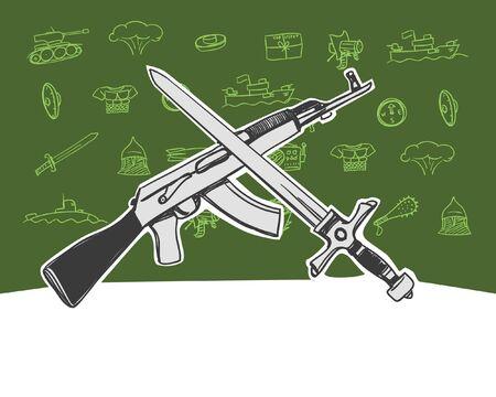 gun and sword Vector
