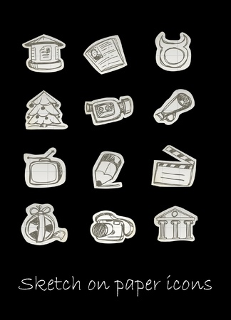 Sketch on paper icons   Vector