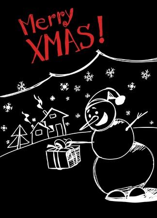 snowman`s greetings Vector