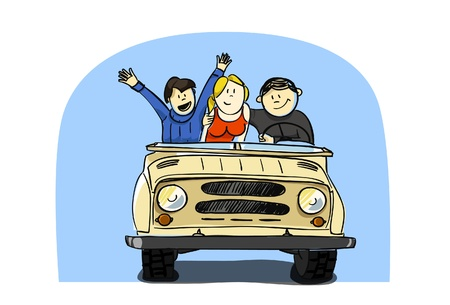 fast driving: driving with friends Illustration