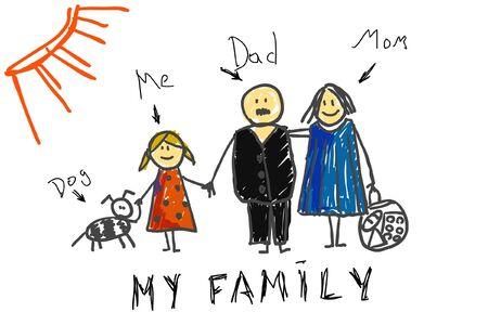 family picture: Children `s cuadro de la familia