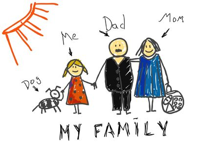 Children`s picture of the family Vector