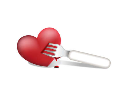 Fork and heart Stock Vector - 11258807