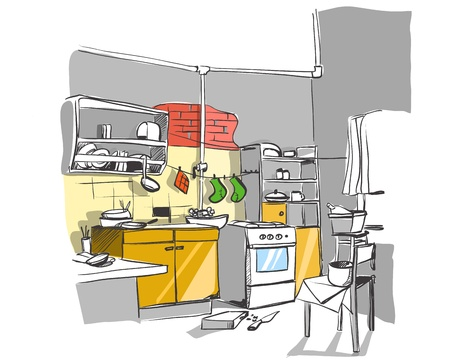 kitchen illustration: kitchen illustration