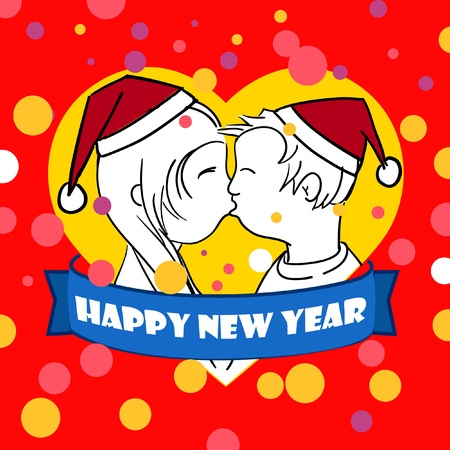 Happy New Love card Vector
