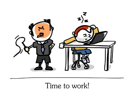 boss and lazy clerk Vector