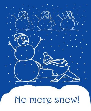 let it snow: snowboy ans snowmen. Let it snow Illustration