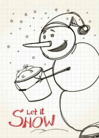 let it snow: Let it snow! Snowman`s greetings Illustration