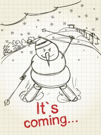 sky snowman Vector
