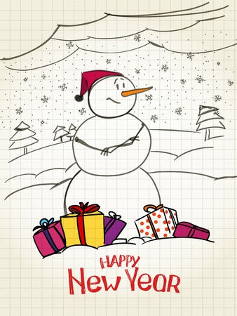 happy snowman with gifts Vector
