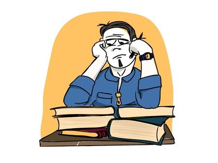 sleepy man: Dreaming student