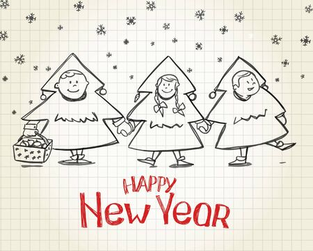 Kids on costumes of New Year Trees Vector