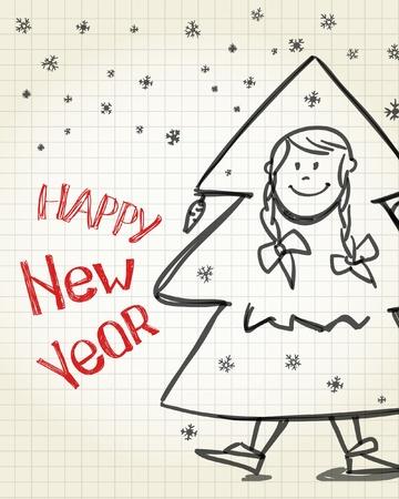 Happy new Year card. New year tree boy Stock Vector - 11331779