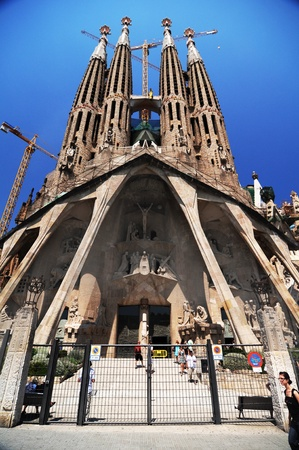 BARCELONA SPAIN - JUNE 29: La Sagrada Familia - the impressive cathedral designed by Gaudi, which is being build since 19 March 1882 and is not finished yet June 29, 2010 in Barcelona, Spain.
