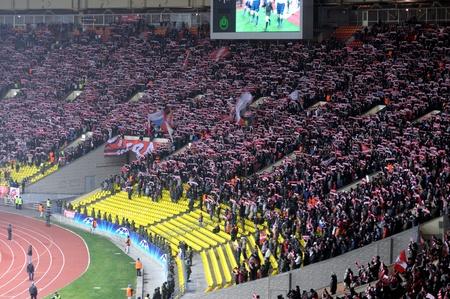 bandera rusia: 23 de noviembre: el Spartak de Moscú versos Olímpicos de Marsel en la Liga de Campeones, 23 de noviembre de 2010. Lujniki estadio tenía 50.000 personas en este día