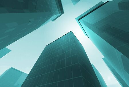 Abstract angle of blue glass skyscrapers with bright sun photo