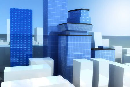 Blue glass skyscrapers with bright sun Stock Photo - 11260441