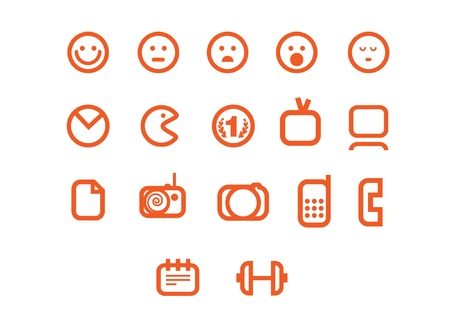 smiles web icons set Vector