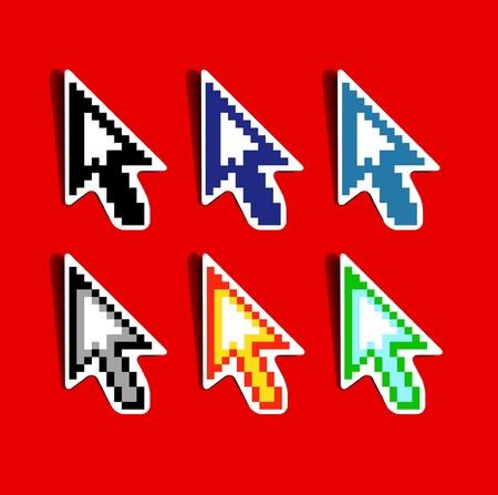 Set of pixeled vector cursors Vector