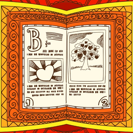 love words: Graceful ornamented book with valentine`s day page Illustration