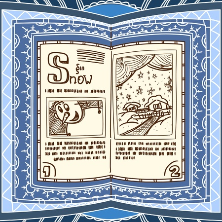 spell: Ornamented magic book with the spell of snow Illustration