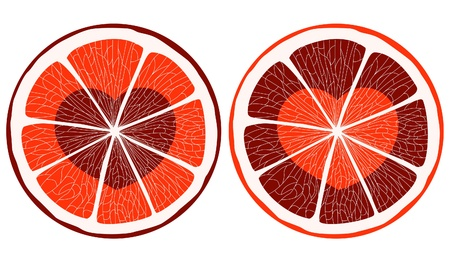 Hearts inside citrus slice Vector