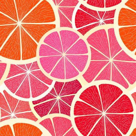 熱帯: グレープ フルーツのシームレスな背景  イラスト・ベクター素材