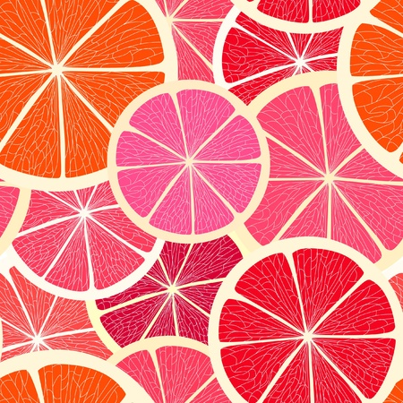 Grapefruit seamless background Vector