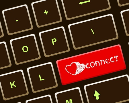 CONNECT button on brown keyboard Vector