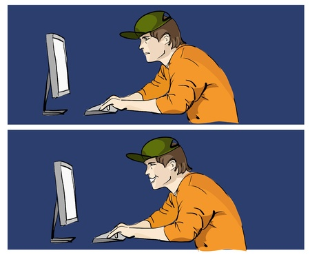 computer hacker: Young man worcking on pc Illustration