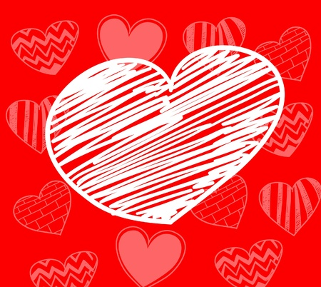 Hand-drawn white heart on red background with set of hearts  Vector