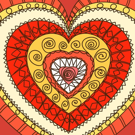 Ornament of hearts. Hot gamma   Vector