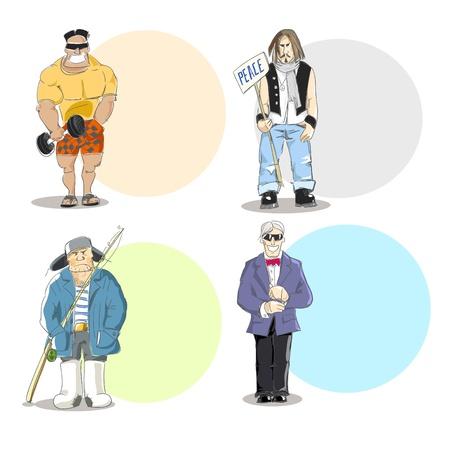 Four different men types  Vector