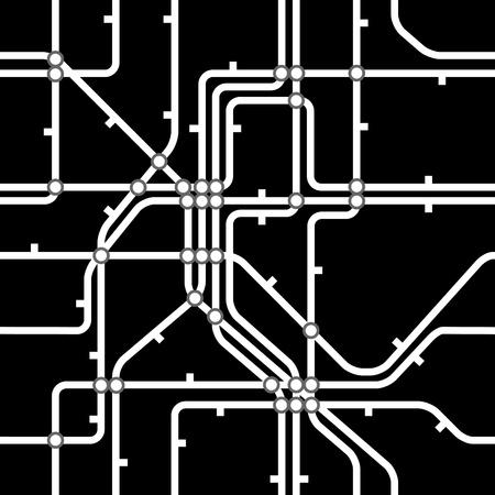 Seamless black background of metro scheme Vector