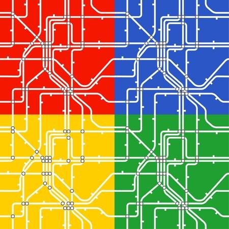 Seamless background of metro scheme. Four colours   Vector